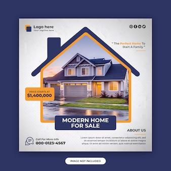 Sprzedaż domu nieruchomości kwadratowy post w mediach społecznościowych i szablon projektu banera internetowego