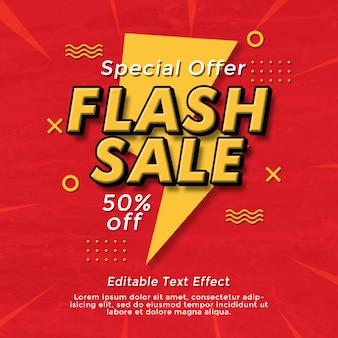 Sprzedaż flash efekt tekstowy szablon banerów społecznościowych