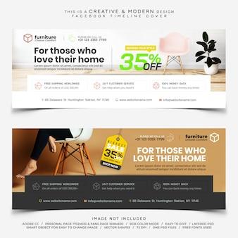 Sprzedaż mebli facebook oś czasu banner transparent