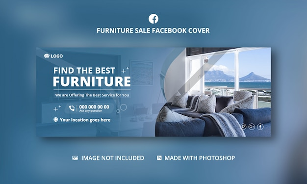 Sprzedaż mebli na facebooku, szablon banner