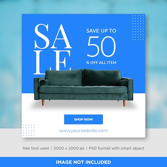 Sprzedaż mebli social media szablon transparent