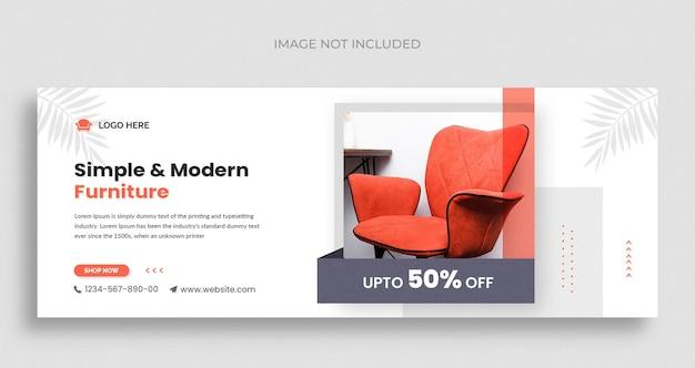 Sprzedaż mebli w mediach społecznościowych, ulotka internetowa i szablon projektu na okładkę na facebooku
