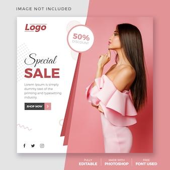 Sprzedaż mody szablon post instagram