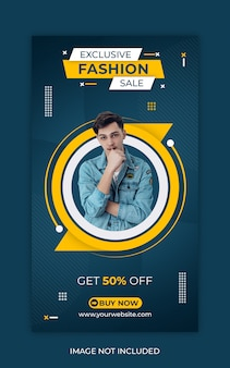 Sprzedaż mody w mediach społecznościowych lub szablon historii na instagramie