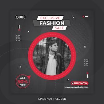 Sprzedaż mody w mediach społecznościowych post lub szablon banera