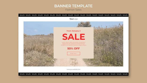 Sprzedaż mody w szablonie banner pola