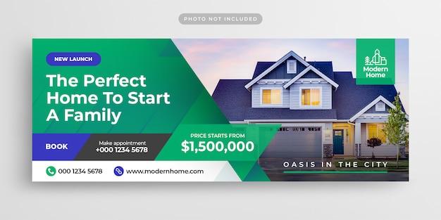 Sprzedaż nieruchomości na facebooku osłona czasu i baner internetowy