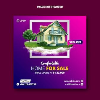 Sprzedaż nieruchomości w domach społecznościowych post i baner internetowy web