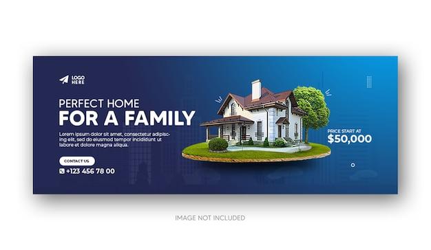 Sprzedaż nieruchomości w domu na facebooka lub szablon banera internetowego w mediach społecznościowych