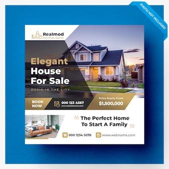 Sprzedaż nieruchomości w mediach społecznościowych baner lub kwadratowy szablon ulotki
