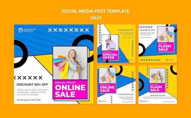 Sprzedaż online szablon postu w mediach społecznościowych