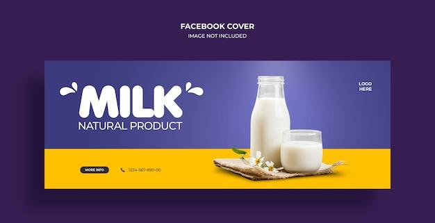 Sprzedaż produktów mlecznych okładka osi czasu na facebooku i szablon banera internetowego
