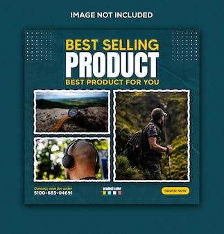 Sprzedaż produktu w mediach społecznościowych i szablon postu na instagramie