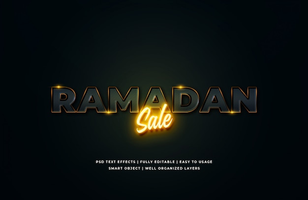 Sprzedaż ramadan 3d efekt stylu tekstu