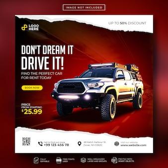 Sprzedaż samochodów w mediach społecznościowych post na instagramie lub kwadratowy baner reklamowy w sieci web