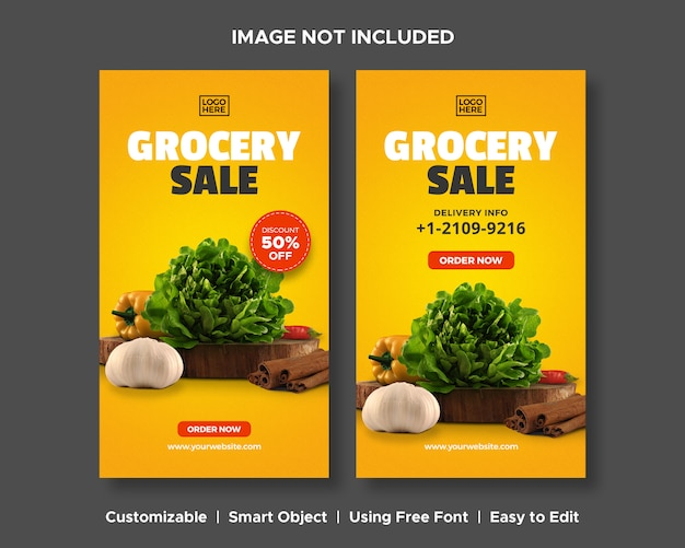 Sprzedaży spożywczej sprzedaż dostawa specjalna promocja menu produktów spożywczych promocja rabatu social media instagram szablon banner historia