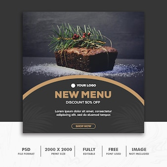 Square banner food restaurant gold black luxury