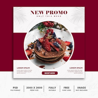 Square banner food restaurant red luxury