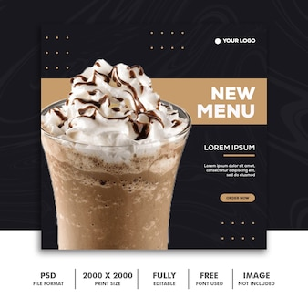 Square banner for instagram, restaurant food luxury milkshake gold