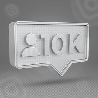 Srebrna ikona 3d na instagramie 10 000 obserwujących