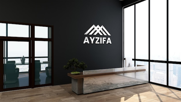 Srebrne logo makieta 3d biuro w recepcjonistce