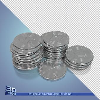 Srebrne monety ethereum renderowania 3d kryptowaluty na białym tle