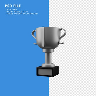 Srebrne trofeum renderowania 3d ikona