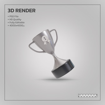Srebrne trofeum zwycięzcy realistyczne izolowane renderowanie 3d