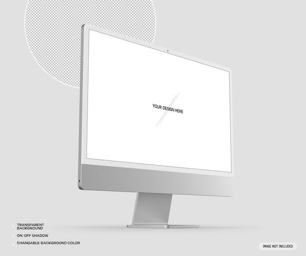 Srebrny makieta komputera stacjonarnego desktop