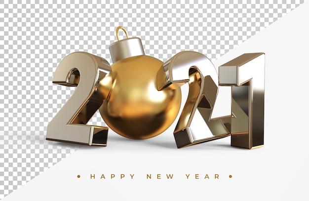 Srebrny nowy rok 2021 z renderowania 3d christmas ball na białym tle