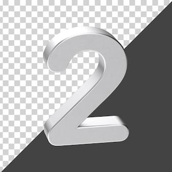 Srebrny numer 2 renderowania 3d