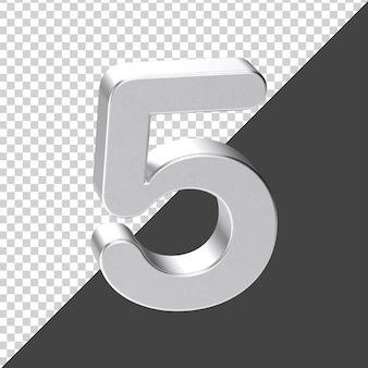 Srebrny numer 5 renderowania 3d
