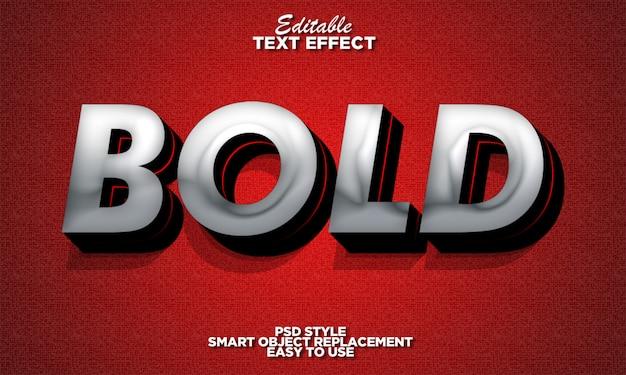 Srebrny pogrubiony efekt tekstowy 3d
