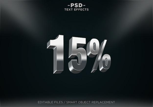 Srebrny rabat 15% edytowalne efekty tekstowe