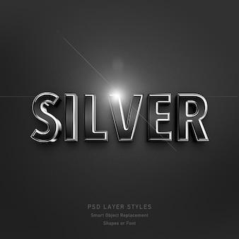 Srebrny styl 3d efekt kształty lub czcionka psd