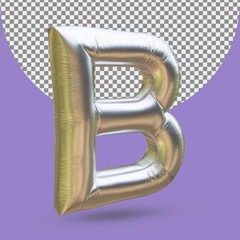 Srebrny złoty balon foliowy realistycznej litery b 3d na białym tle