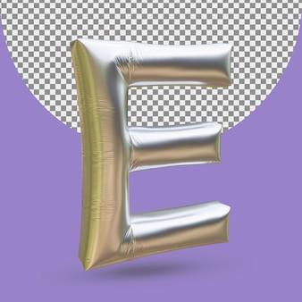 Srebrny złoty balon foliowy realistycznej litery e 3d na białym tle