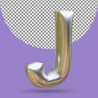 Srebrny złoty balon foliowy realistycznej litery j 3d na białym tle