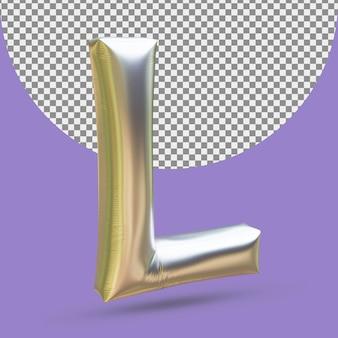 Srebrny złoty balon foliowy realistycznej litery l 3d na białym tle
