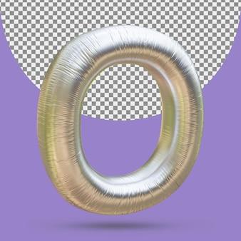 Srebrny złoty balon foliowy realistycznej litery o 3d na białym tle