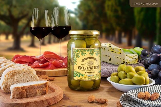 Średni projekt makiety słoika z całymi oliwkami