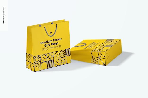 Średnie torby na prezenty papierowe z makietą z uchwytem liny