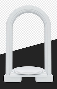 Średniowieczna lub królewska biała brama z podstawą cylindra na białym tle
