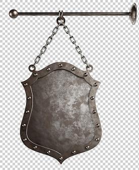 Średniowieczna szyld metalowy na białym tle ilustracja 3d