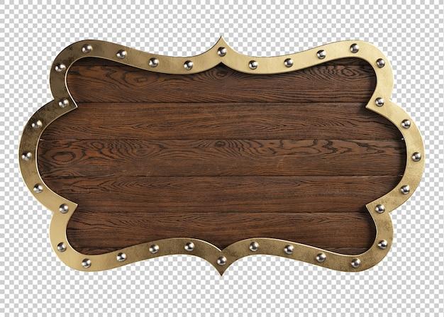 Średniowieczny szyld drewniany na białym tle, ilustracja 3d
