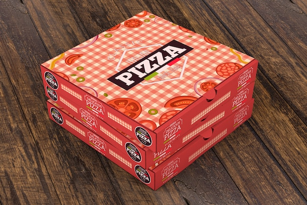 Stacked pizza box makieta