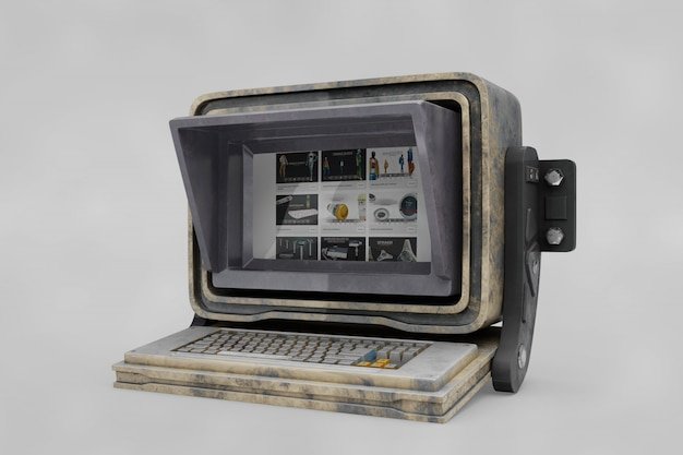 Stare komputerowe mockup