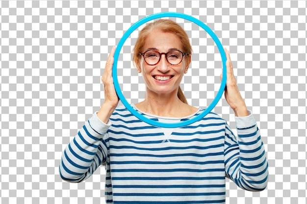 Starsza piękna kobieta z ramą