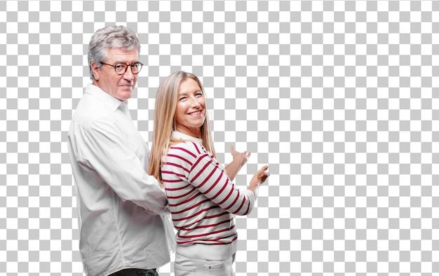 Starszy fajny mąż i żona uśmiechając się z dumny, zadowolony i szczęśliwy wygląd