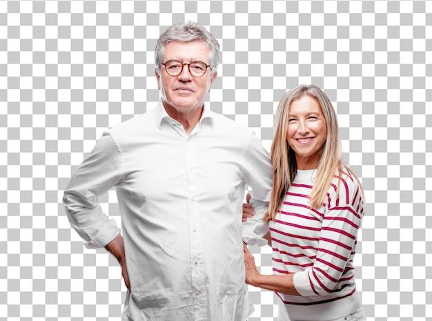 Starszy fajny mąż i żona z dumnym, zadowolonym i szczęśliwym wyglądem
